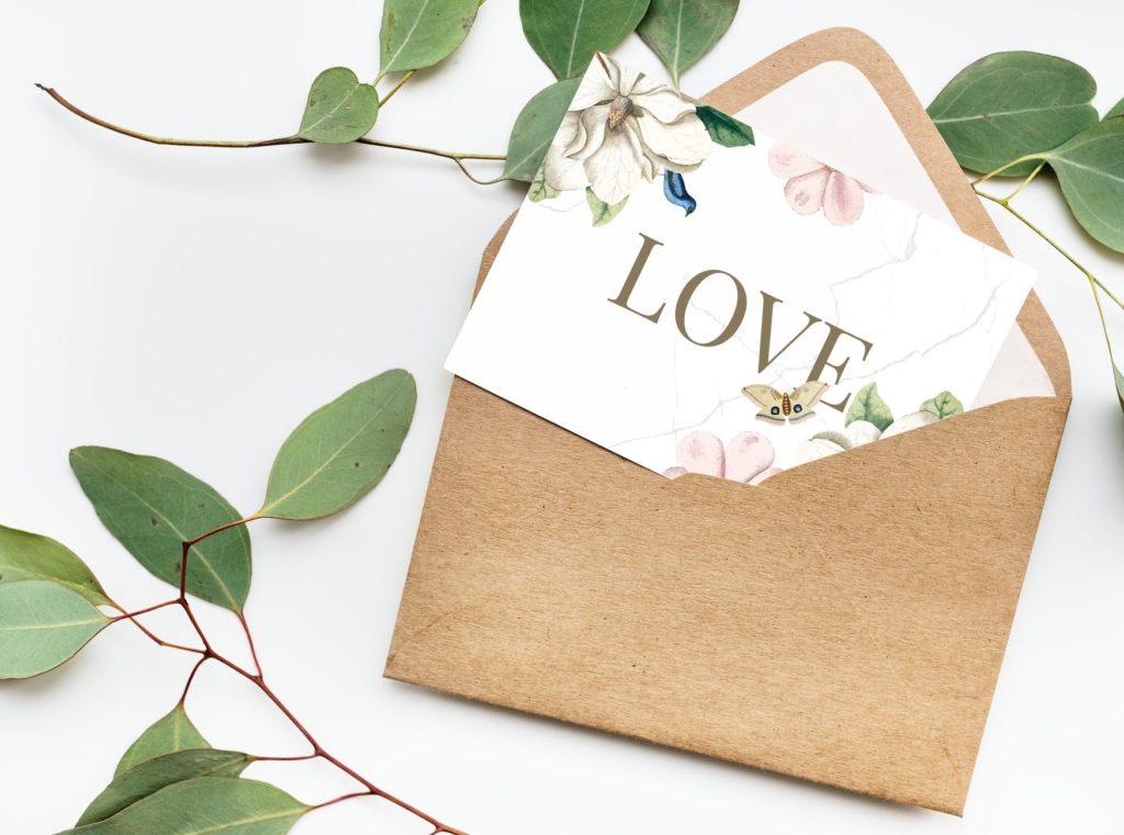 przykład kartki ślubnej dla członka rodziny