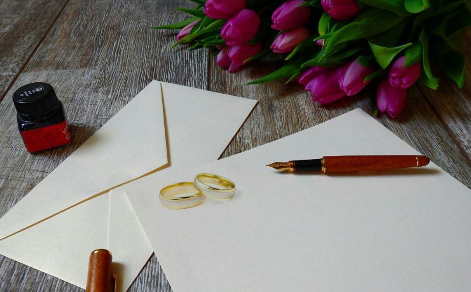 kartka ślubna z życzeniami